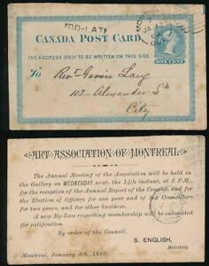 CANADA 1880 STATIONERY PRINTED CARD ART ASSOCIATION of MONTREAL + TOO LATE HS