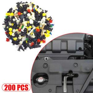 200Pcs Auto Car Mixed Fastener Clip Bumper Fender Trim Plastic Rivet Door Panel