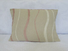 "Cushion Cover, Cream, Beige, Pink, Wave Design, Textured, Rectangle, 20"" x 13""."