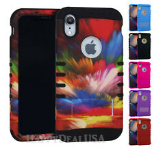 For Apple iPhone XR - KoolKase Armor Hybrid Slicone Cover Case - Rainbow Sky 58