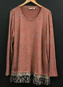 LOGO by Lori Goldstein Space Dye Sweater Knit Tunic Top with Tier sz XL
