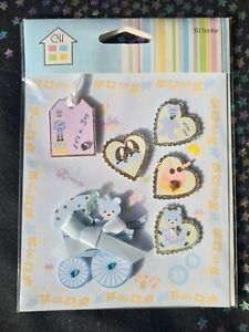 Baby Boy Craft 3D Stickers Blue Heart Teddy Pram Booties Drum Star (D51)