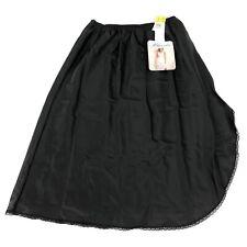 "Vintage Blanche Half Petti-Slip L 25"" Black Lace Trim Short Knee Slit Sexy NWT"