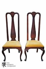 2 antique mahogany high back queen anne side chairs pair upholstered seat yellow