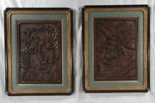 Pair of Chinese wall panels, one is a mountain scene with warriors on. Lot 273