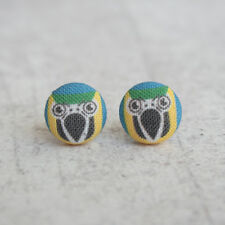 Parrot Fabric Button Earrings