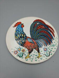 Vintage Skelton Ceramic Painted Rooster Trivet Hot Plate Farmhouse Style