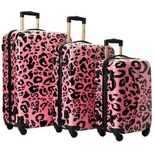 Kensie New CORAL LEOPARD Luggage 3 PC  SET NOT Expandable Hard Side Spinner