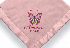 personalized baby girl Butterfly blanket ~ Embroidered Baby girl blanket