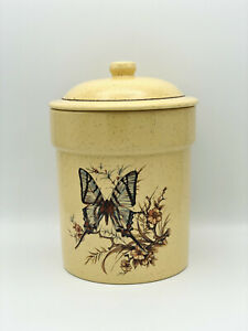 """Treasure Craft Butterfly Canister Cookie Jar Yellow Speckled 9"""" Tall EUC!"""