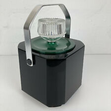 More details for vintage 1970s boc sparklets ice bucket black & green with tongs home bar retro