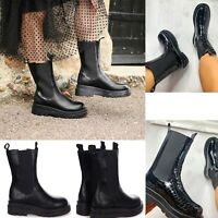 Womens Chunky Sole Platform High Ankle Chelsea Boots Ladies Biker Goth Punk Size