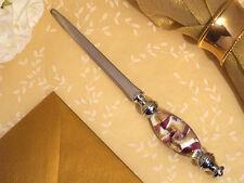 """Stunning Murano Style Lavender Sword Handheld Letter Opener Gift Boxed 7"""" Long"""