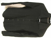 Burberry London Womens Black Pleat Front Long Sleeve Cotton Shirt 6 Italy Made