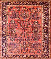 """5' 6"""" x 6'3"""" Antique  Lilihan / Sarouk/ Floral Red Rug,c-1920 #17088"""