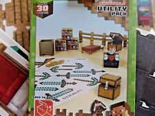Minecraft Utility Pack Paper Craft Over 30 Pieces Bookshelf Chest Table+ NEW