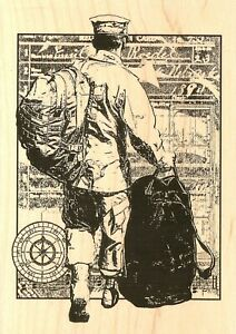 Military Hero Deployed Wood Mounted Rubber Stamp Impression Obsession H13723 New