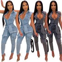 Women's V Neck Denim Jumpsuit Jeans Romper Bodycon Playsuit Clubwear Sleeveless