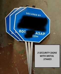 3pc HOME SECURITY YARD SIGNS - Includes stakes