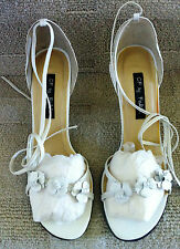 NEW! FALCHI White Leather Flower Bride Wedding Ankle Tie Sandal Party Heels 8.5M