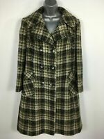 WOMENS ALEXON BROWN CHECK PURE NEW WOOL DOUBLE BREASTED SMART WINTER COAT UK 12