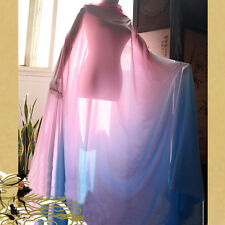 2 Yds Fashion Pink Blue Shade Chiffon Fabric Gradual Color Dress Material