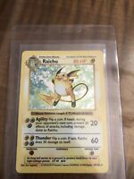 RAICHU 1999 Base Set Shadowless Pokemon Card 14/102 Holographic Holo MP