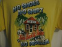 No Shoes No Shirt No Problem Tiki Bar Kick Back & Relax Yellow T-Shirt Large (L)