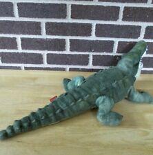 "Wild Republic Alligator15"" Long Stuffed Plush Green Color,Orange Eyes,Mouth Open"