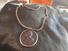 Beautiful Victorian Rare Silver Pate De Verre, Amethyst Cameo Pendant & Chain