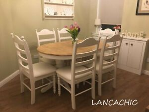 Beautiful oval extending shabby chic table & chairs - Delivery available