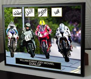William Joey Robert Michael Dunlop Signed  A4 Black Framed Canvas Print Signed