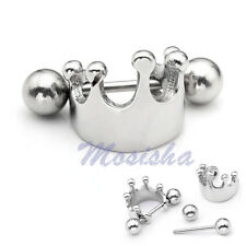 1p 16G Stainless Crown Shield Ear Helix Cartilage Cuff Ring Earring Piercing M