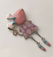Adorable  Mouse with movable legs Pin Brooch enamel on Metal