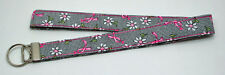 Breast Cancer Awareness Pink Ribbon & Daisy Lanyard Key Chain Handmade Custom