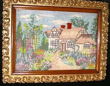 NEEDLE POINT ART WORK COUNTRY SIDE COTTAGE WILD FLOWERS