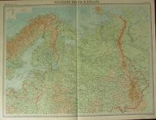 1922 LARGE ANTIQUE MAP ~ NORTHERN RUSSIA & FINLAND ~ VYATKA LAPLAND