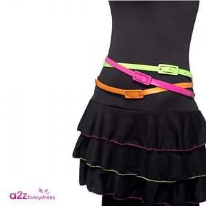 Ladies 80s Neon Belts Adult Pop Disco Work Out Hen Party Fancy Dress Accessory