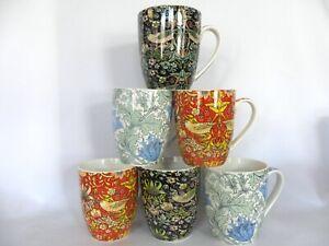 set of 6 aspen mugs in 3 assorted William Morris designs