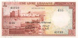 Lebanon 1 Livre 1964 P-55b AU+