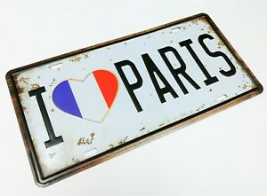 "Collectible I Heart Love Paris 12"" x 6"" Novelty Car License Plate Tin Sign"