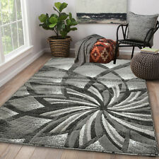 Area rug Nwprt #61 Modern gray and black soft pile size option 2x3 4x5 5x7 8x11