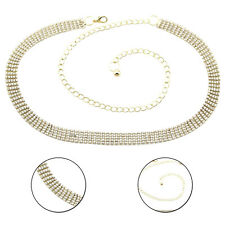 Women 5 Row Gold Diamante Waist Chain Charm Belt For Fashion Party Wear Outfit