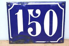FRENCH 150 House Number Door Sign Blue Enamel Metal Wall Plate Street Plaque BIG