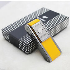 COHIBA YELLOW METAL  2 TORCH JET FLAME CIGAR CIGARETTE LIGHTER W/ LATERAL PUNCH