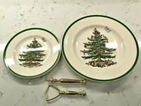 """2 TIERED SPODE CHRISTMAS TREE SERVING TID BIT TRAY. """"AS IS"""""""