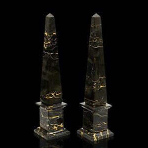 Obelisco Classico Nero Portoro Black Italian Marble Classic Obelisk Home H.40CM