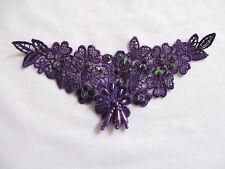 """6  1/2"""" Pearl Bead & Sequin Neckline Applique  - Purple"""