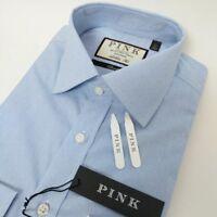 Thomas Pink Mens Shirt Athletic Fit Blue Polka Dot Check 15.5 - 39cm New RRP£125