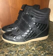 Women's Report Brand Quilted Leather Wedge Sneakers/ Boots Sz. 9 Black